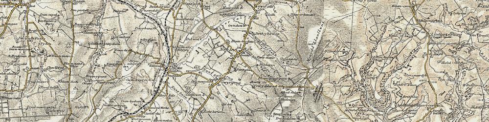 Old map of Afon Gilwydeth in 1901