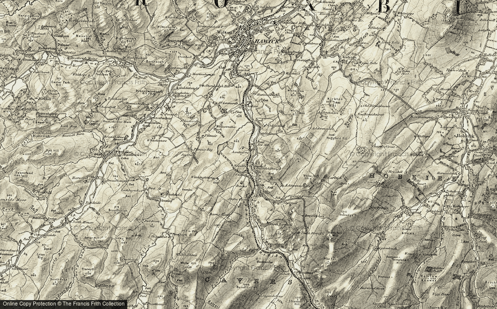Old Map of Historic Map covering Acreknowe Reservoir in 1901-1904