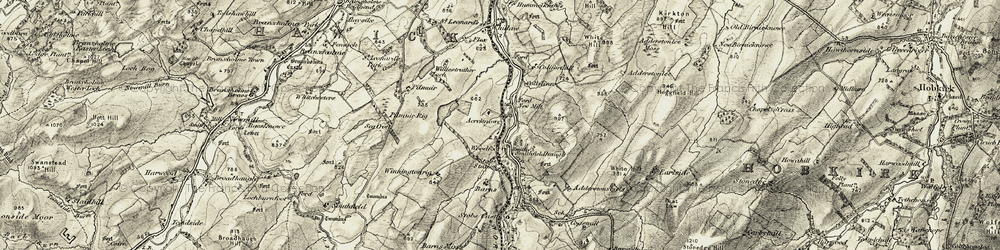 Old map of Acreknowe in 1901-1904