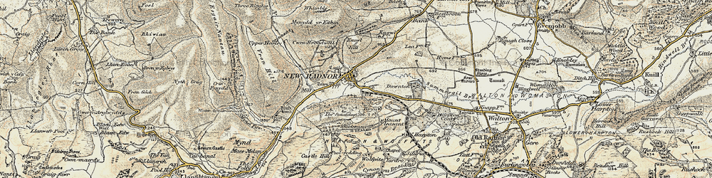 Old map of Whinyard Rocks in 1900-1903