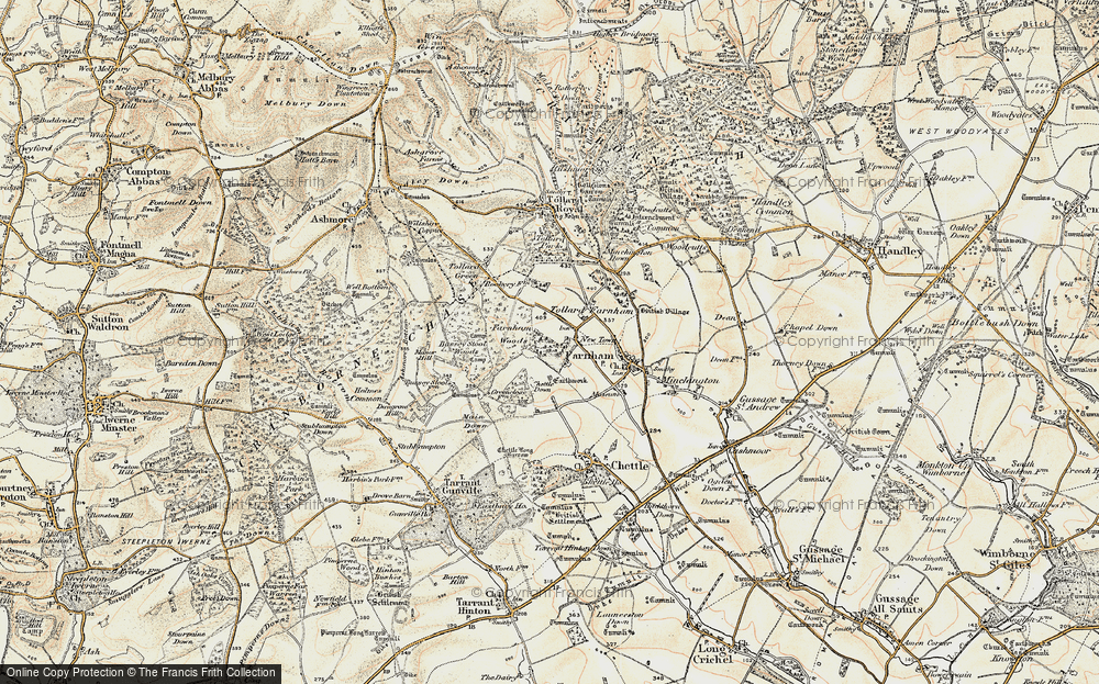Old Map of Historic Map covering Larmer Tree Gdns in 1897-1909