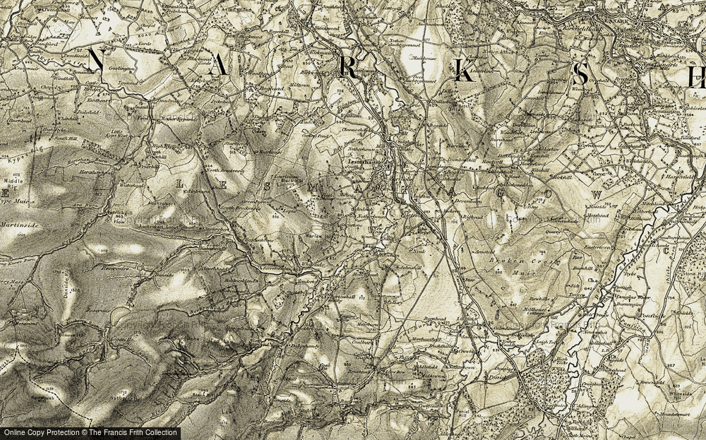 Old Map of Historic Map covering Lawriesmuir in 1904-1905