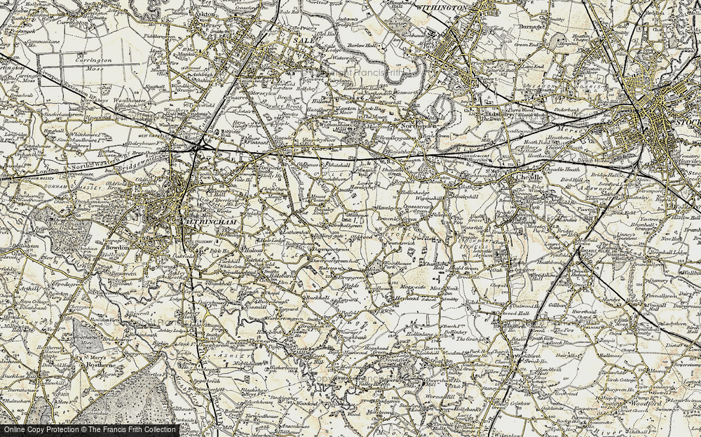 Old Map of Historic Map covering Baguley Hall in 1903