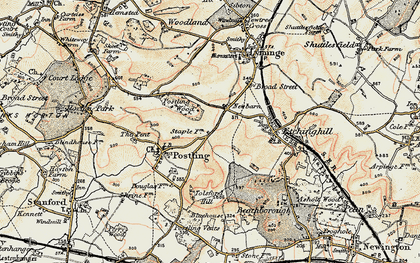 Old map of Tolsford Hill in 1898-1899