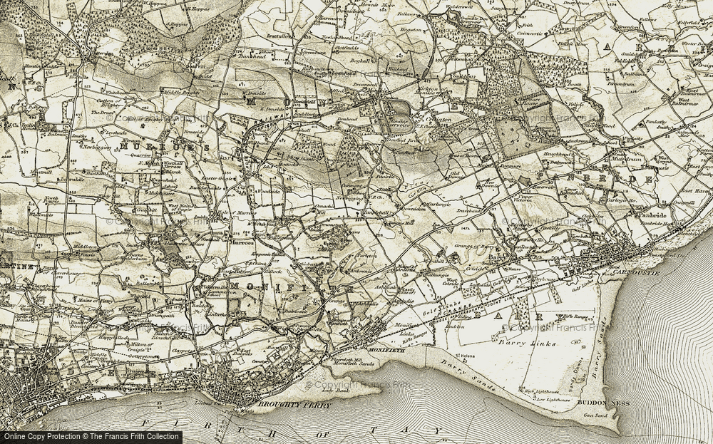 Old Map of Historic Map covering Laws in 1907-1908