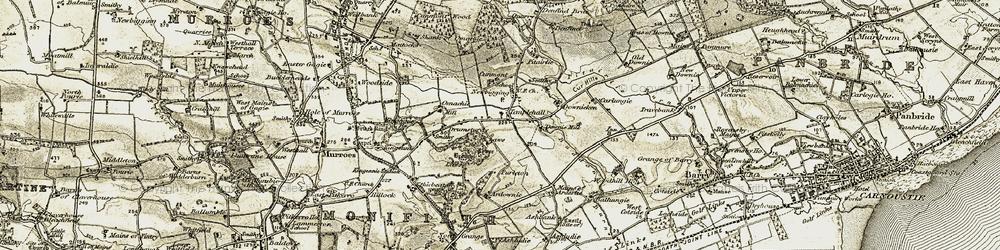 Old map of Ardownie in 1907-1908