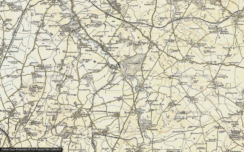 Old Map of Newbold-on-Stour, 1899-1901 in 1899-1901