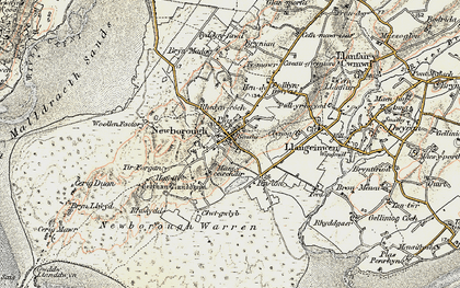 Old map of Newborough in 1903-1910
