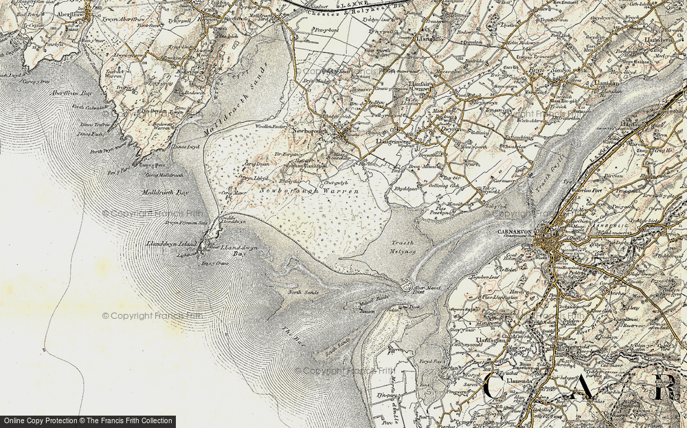 Old Map of Historic Map covering Abermenai Point in 1903-1910