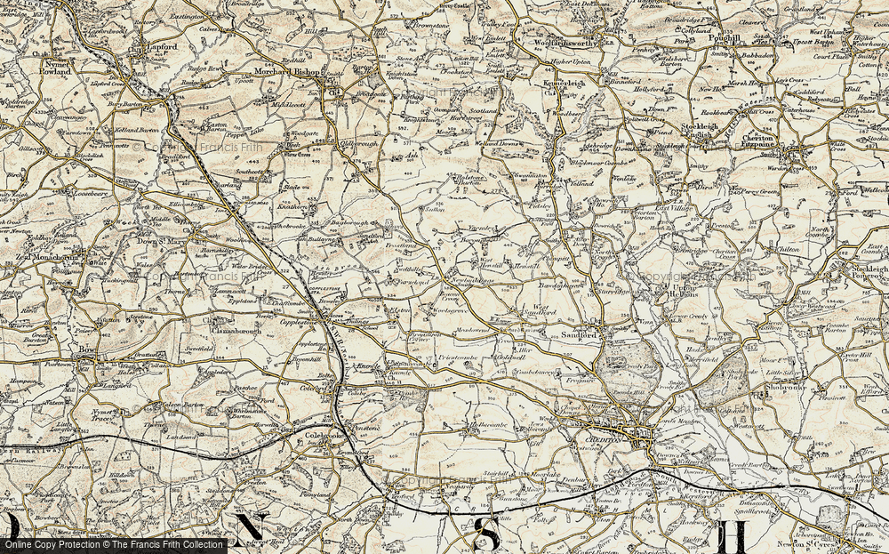Old Map of Historic Map covering Bagborough in 1899-1900