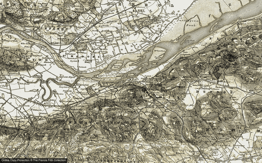 Old Map of Historic Map covering Abernethy Bank in 1906-1908