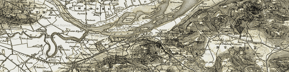 Old map of Wester Lumbennie in 1906-1908