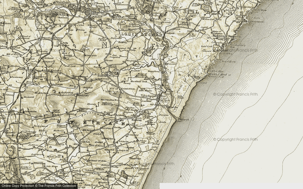 Old Map of Historic Map covering Linnhead in 1909-1910