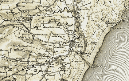 Old map of Linnhead in 1909-1910