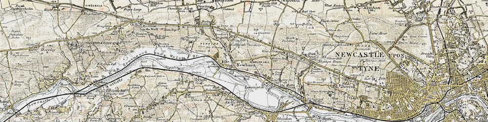 Old map of Newburn in 1901-1904