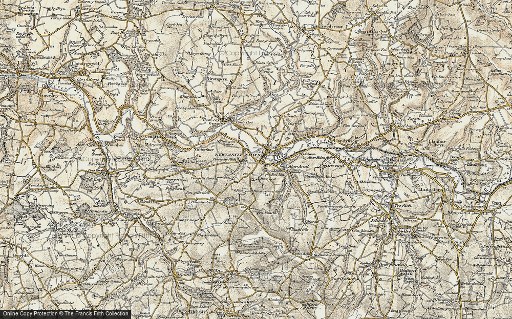 Old Map of Newcastle Emlyn, 1901 in 1901
