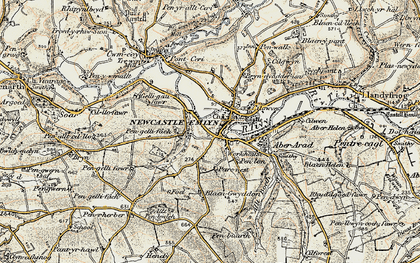 Old map of Newcastle Emlyn in 1901