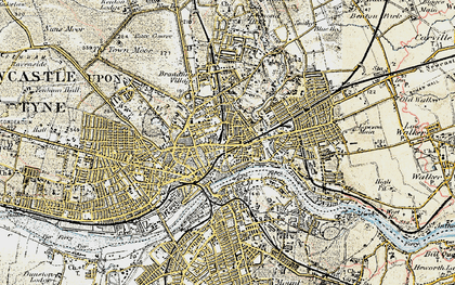 Old map of Newcastle upon Tyne in 1901-1904