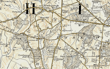 Old map of Yoxall Lodge in 1902