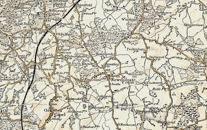 Old map of Newdigate in 1898-1909