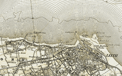 Old map of Newhaven in 1903-1906