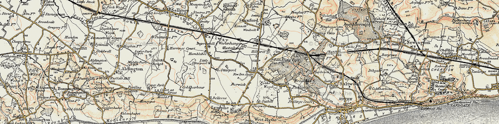 Old map of Westenhanger Castle in 1898-1899