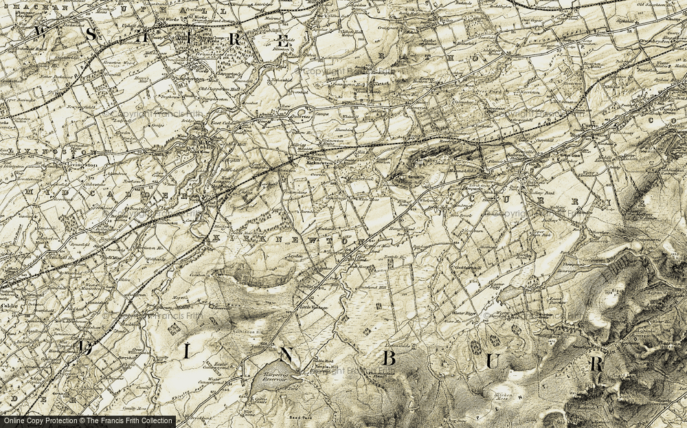Old Map of Historic Map covering Whitemoss in 1903-1904