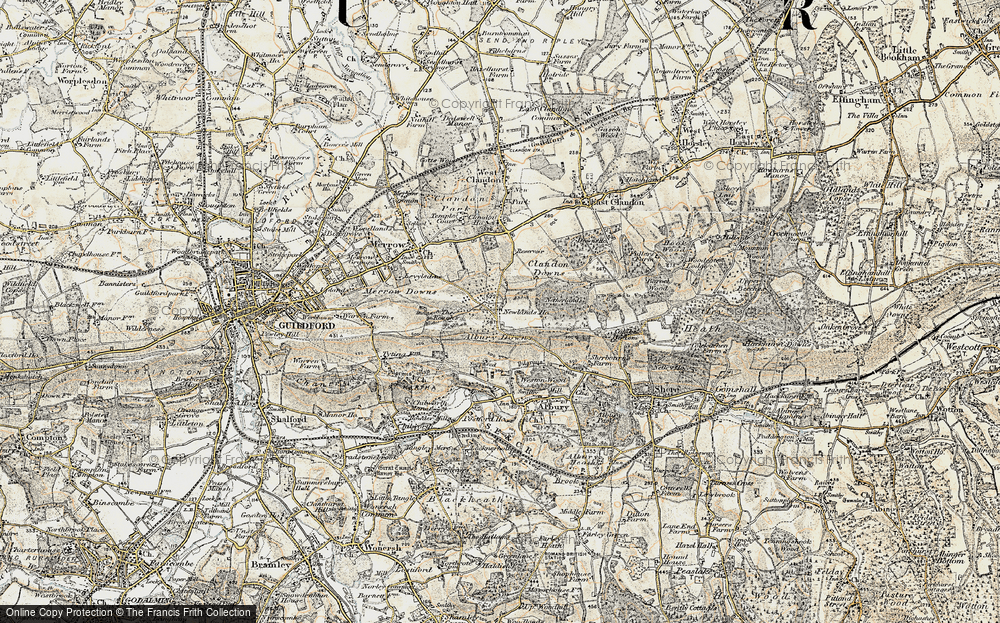 Old Map of Historic Map covering Albury Downs in 1898-1909