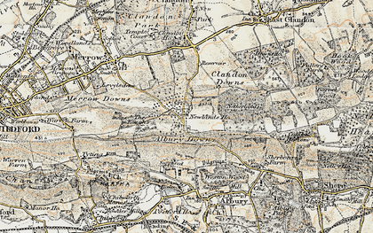 Old map of Albury Downs in 1898-1909