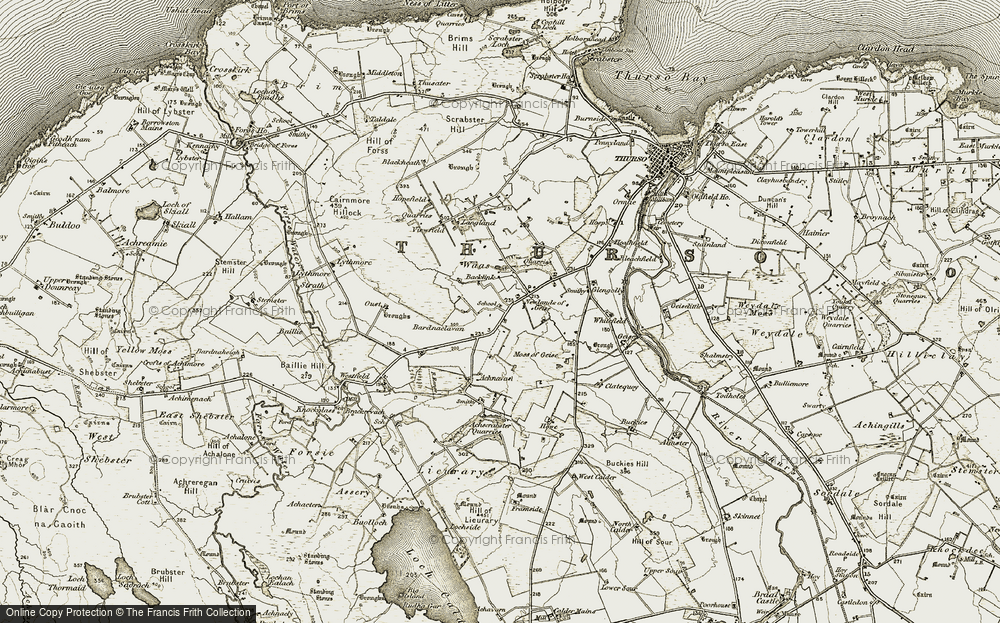 Old Map of Historic Map covering Whitefield in 1911-1912