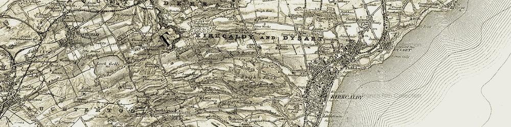 Old map of Tiel Burn in 1903-1906