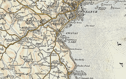 Old map of Newlyn in 1900