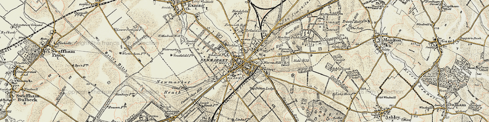 Old map of Newmarket in 1899-1901