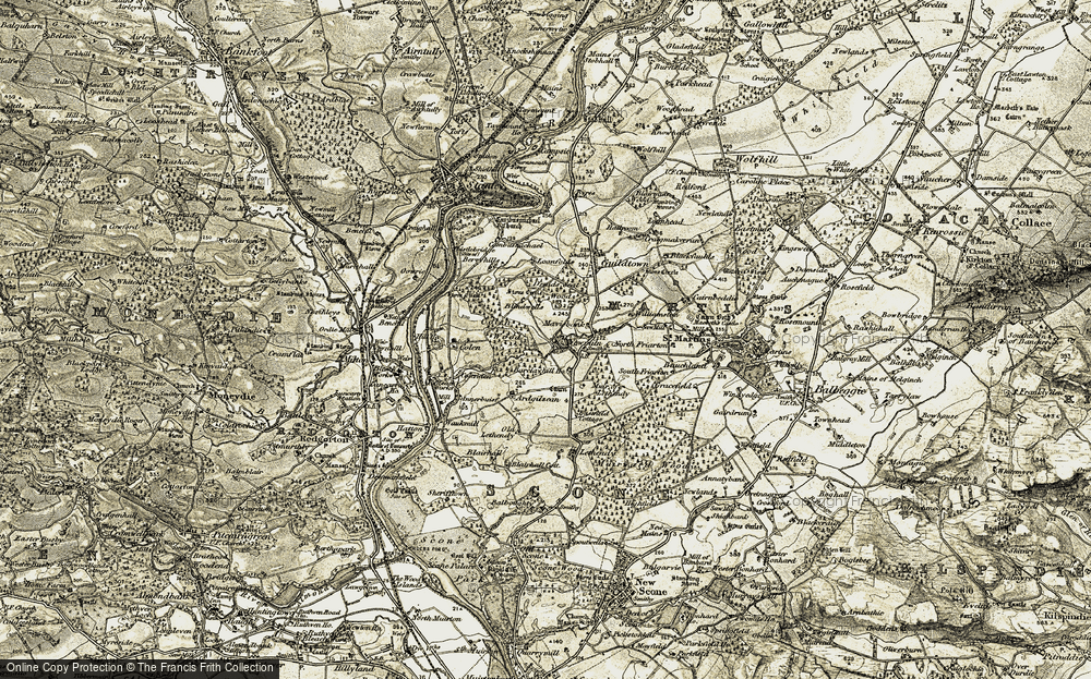 Old Map of Historic Map covering Barclayhill Ho in 1907-1908