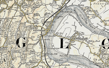 Old map of Newnham in 1899-1900