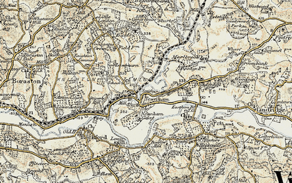 Old map of Newnham Bridge in 1901-1902