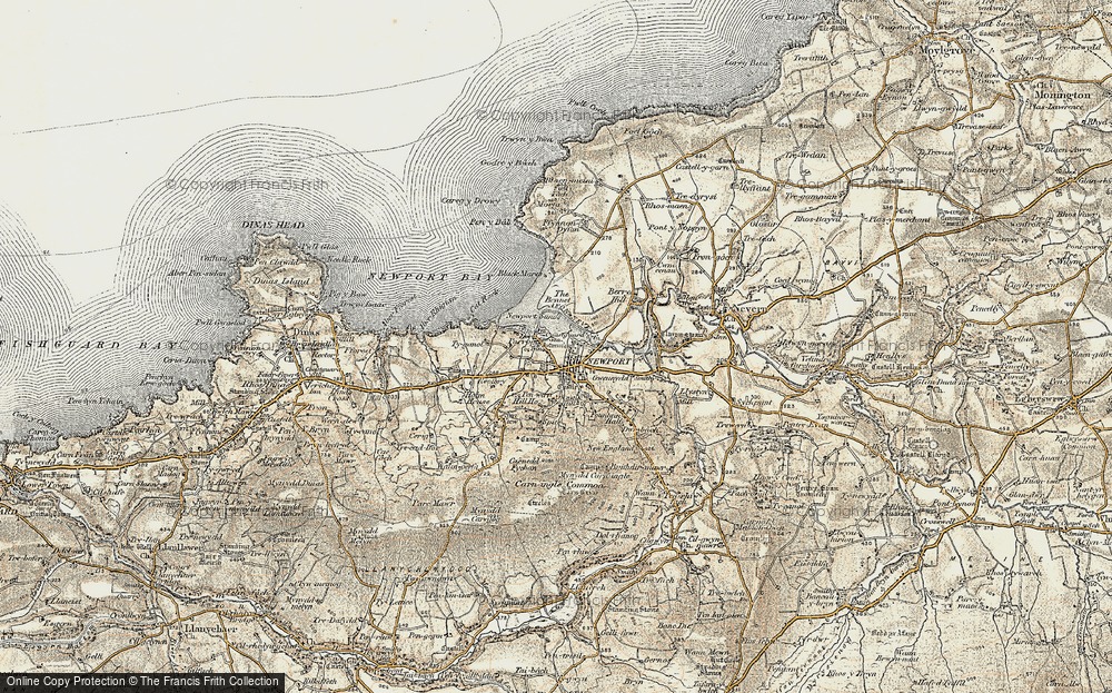 Old Map of Historic Map covering Afon Nyfer in 1901-1912