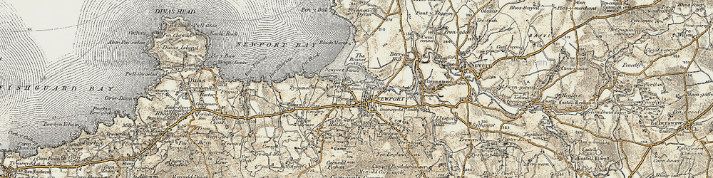 Old map of Afon Nyfer in 1901-1912