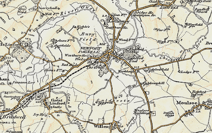 Old map of Newport Pagnell in 1898-1901