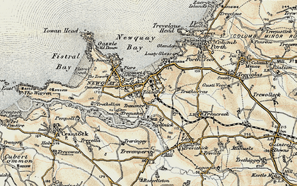 Old map of Newquay in 1900
