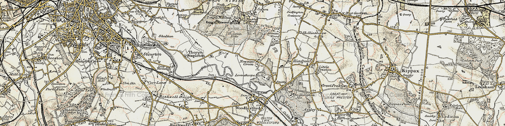 Old map of Leventhorpe Hall in 1903