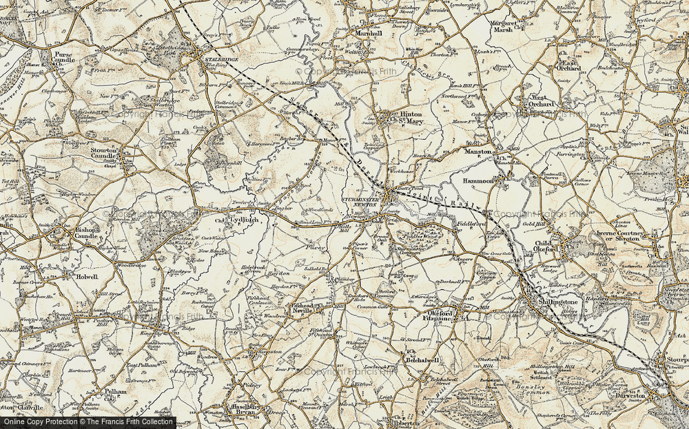 Old Map of Historic Map covering Bagber Common in 1897-1909
