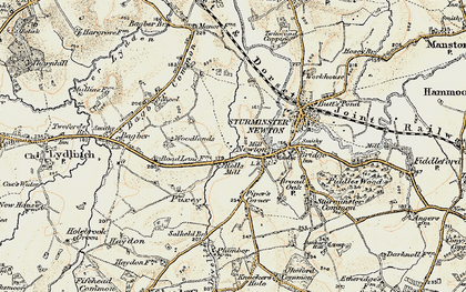 Old map of Bagber Common in 1897-1909