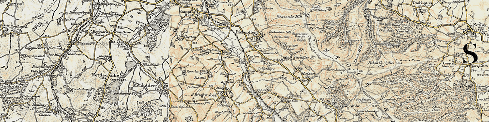 Old map of West Somerset Railway in 1898-1900