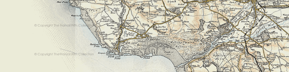 Old map of Newton in 1900-1901
