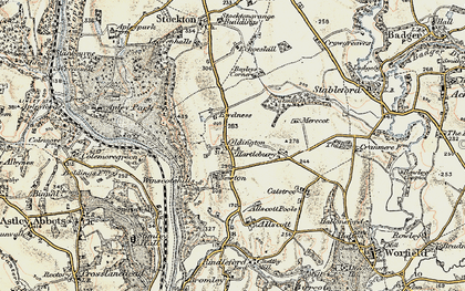 Old map of Winscote Hills in 1902