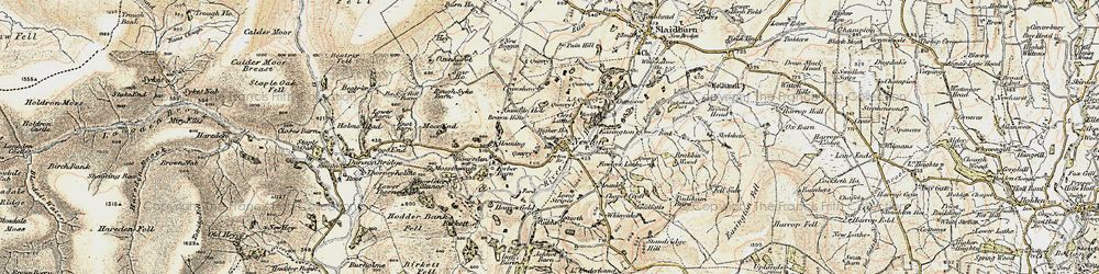 Old map of Newton-in-Bowland in 1903-1904