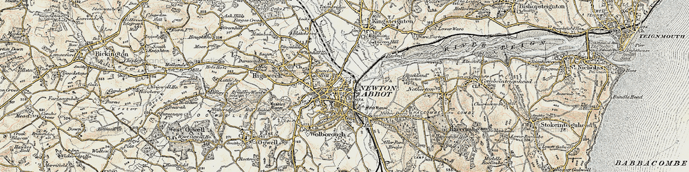 Old map of Newton Abbot in 1899