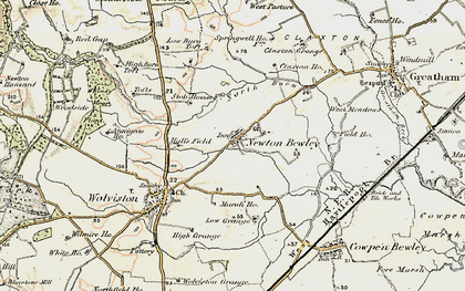 Old map of West Pastures in 1903-1904