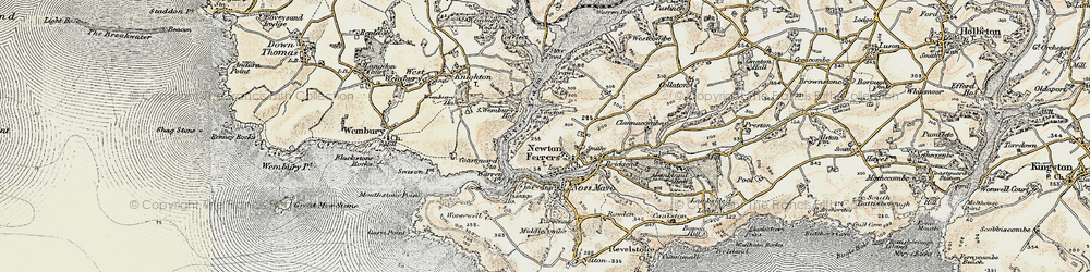 Old map of Newton Ferrers in 1899-1900